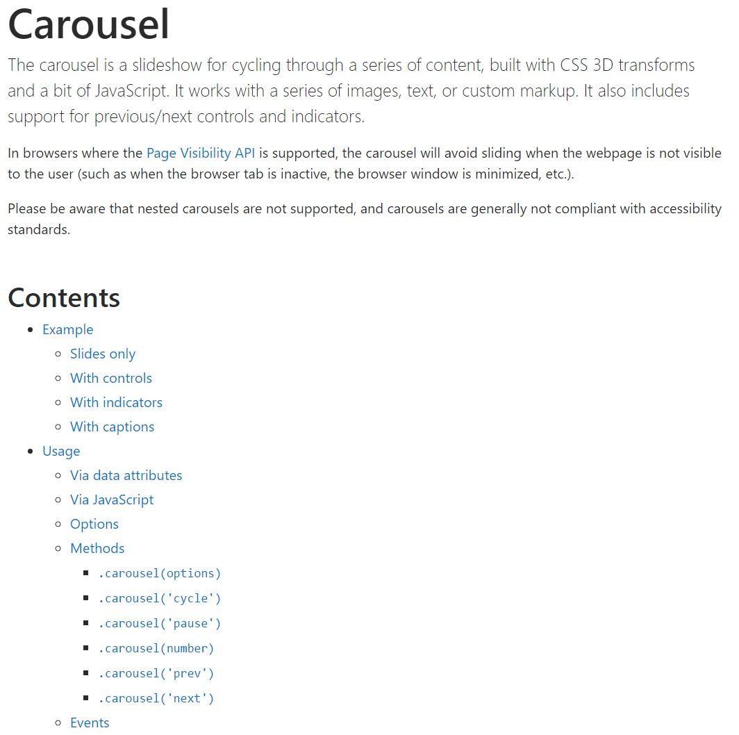 Bootstrap carousel  formal documentation