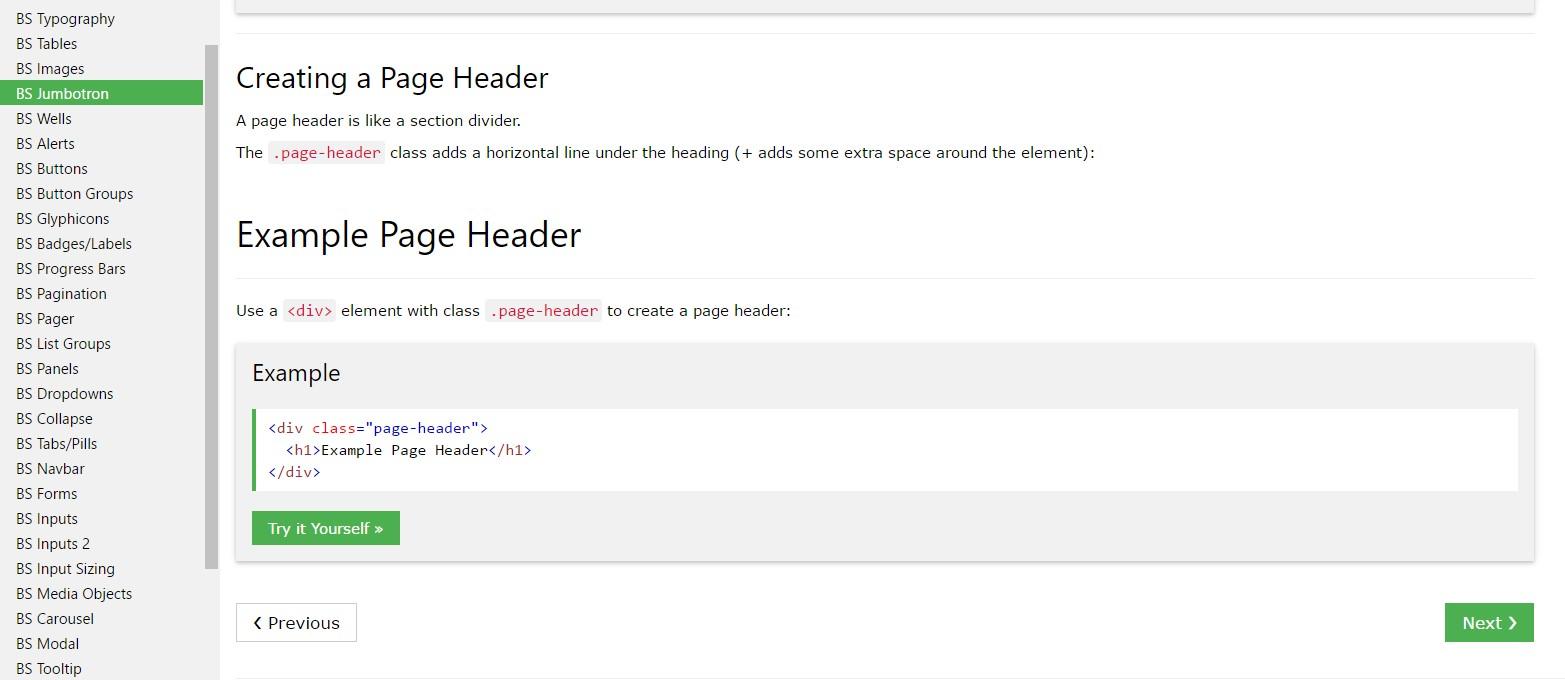 Bootstrap Header  information