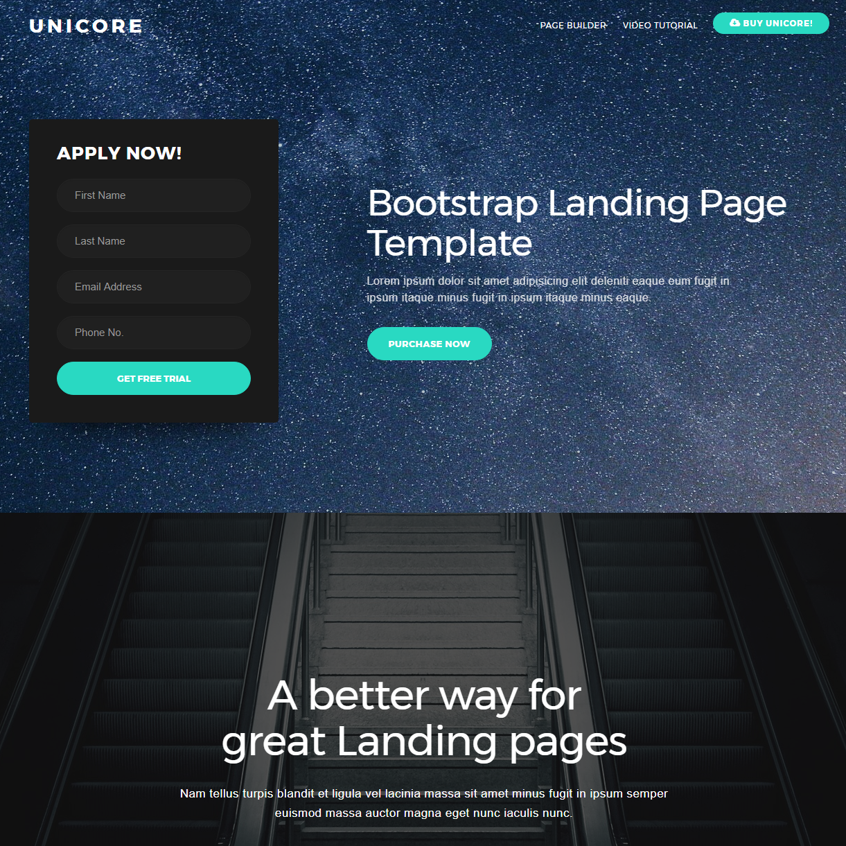 CSS3 Bootstrap One Page Templates