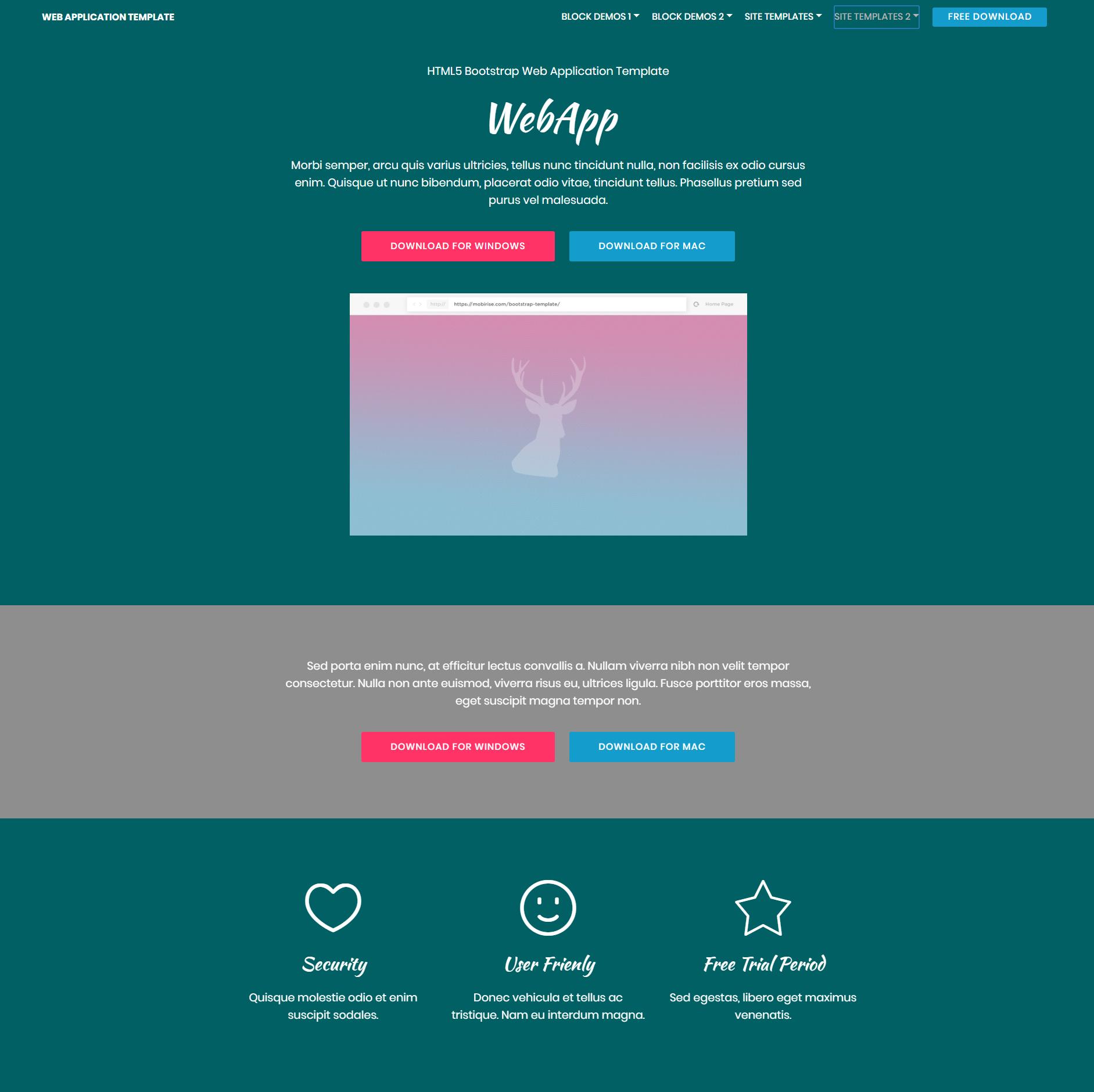 HTML Bootstrap Web Application Templates